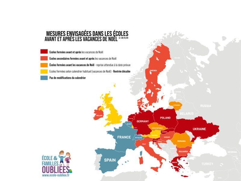 Carte europe - Ouverture des écoles avant et après les vacances de Noël