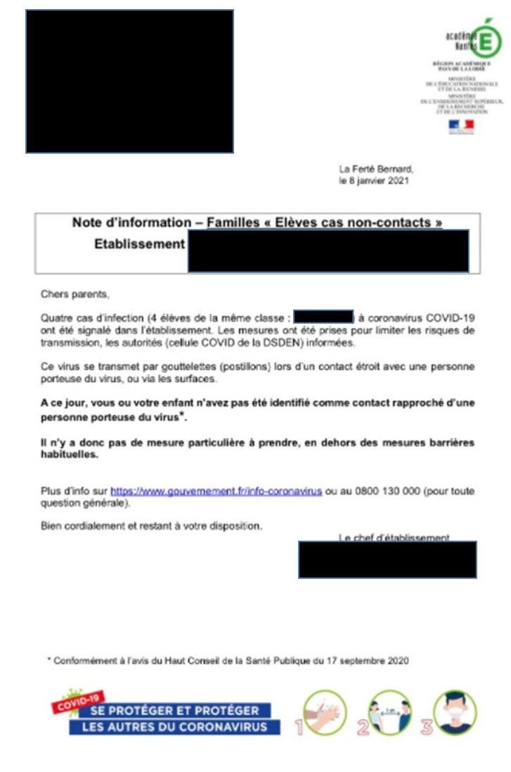 lettre de l'académie en cas de cas contact